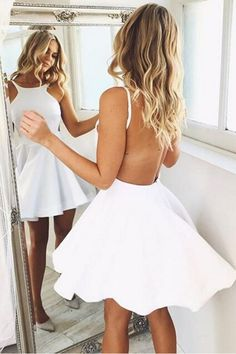 White satin prom dress, backless prom dress, fashion prom dress, homecoming dress 2017