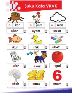 17                       Suku Kata VKVK  a          kar                        a… Kindergarten Reading Activities, Kindergarten Readiness, Preschool Writing, Phonics Activities, Free Printable Handwriting Worksheets, Kids Math Worksheets, Preschool Printables, Reading Worksheets, Learning Letters