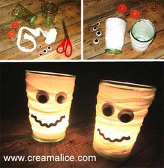 Crafts you can do with your children. Chat Halloween, Diy Halloween Ghosts, Bricolage Halloween, Adornos Halloween, Fete Halloween, Diy Halloween Decorations, Halloween Crafts, Halloween Ideas, Cute Crafts