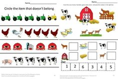 FARM MATH LITERACY BUNDLE AUTISM, PK, K, SPECIAL EDUCATION. - The products in this Farm Math Literacy Bundle are aligned with Common Core standards with 170 pages of activities. With this Farm Math Literacy Bundle Autism, PK, K, Special Education, students will practice visual discrimination, color recognition, match pictures, match shapes, letter matching, fine motor skills, sort by size, complete patterns, count and read number words, add and subtract.