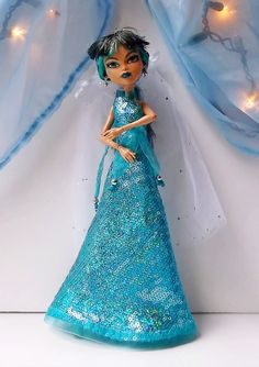 Turquoise Sequin Gown Silver Earrings Monster by CuteWeirdFluffy, $25.50