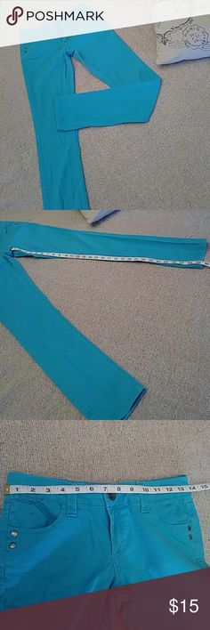 Turquoise Lei Skinny Jeans Good condition lei Ashley Trouble turquoise skinny jeans. Very comfortable cotton & spandex blend. Size 5. lei Jeans Skinny