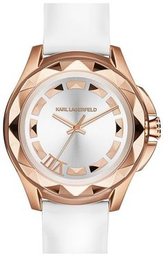 KARL LAGERFELD '7' Faceted Bezel Leather Strap Watch, 44mm