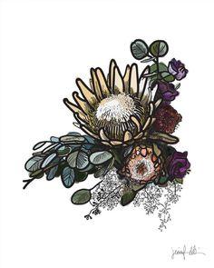 Protea print Flower art Printable art Instant download Protea