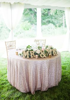For a pink wedding palette, add a modern metallic touch with a rose gold tablecloth and Mr. letters for your sweetheart table. Wedding Wishes, Wedding Bells, Our Wedding, Dream Wedding, Wedding Tables, Wedding Linens, Wedding Receptions, Party Wedding, Wedding Couples