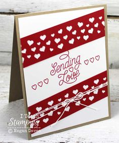 Designer Tin of Cards, Confetti Hearts border punch, Whisper White Baker's Twine My Funny Valentine, Valentines Day Cards Handmade, Love Valentines, Invitation Card Design, Card Tutorials, Making Ideas, Wedding Cards, Cardmaking, Holiday Cards