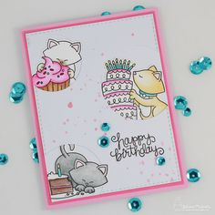 Happy Birthday Card by Juliana Michaels featuring Newton's Nook Designs Newton Eats Cake Stamp and Die Set from the February 2017 Release.