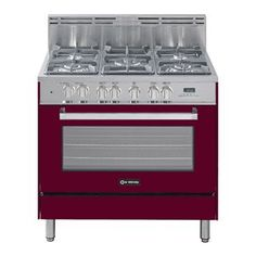 """Check out the Verona VEFSGE365BU 36"""" Dual Fuel Range with 5 Sealed Burners in Burgundy Gloss"""