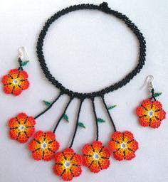Mexican Huichol Beaded Flower Choker and Earrings Set by Aramara