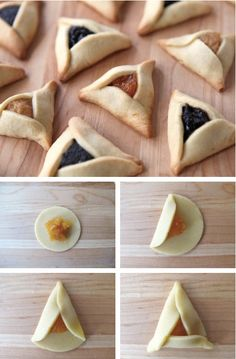 32 Crazy Hamantaschen For Purim The traditional flavors are apricot, fig, prunes, strawberry — that kind of thing. Comida Judaica, Cookie Recipes, Dessert Recipes, Decoration Patisserie, Bread Shaping, Homemade Pastries, Jewish Recipes, Snacks, Holiday Recipes
