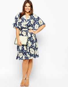 ASOS CURVE Skater Dress With Obi Wrap In Large Floral Print