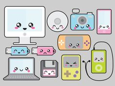 Premium Vector Clipart Kawaii Technology by LookLookPrettyPaper