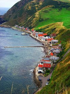 The road ends here - the village of Crovie in Aberdeenshire Scotland