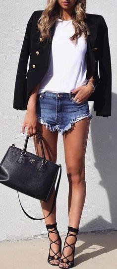 Lace up heels + blazer.