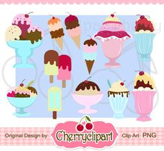 Ice Cream Sundae Digital Clipart Set-Personal and Commercial Use - paper crafts, card making, scrapbooking