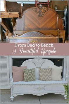An old bed was beautifully decorated in this DIY upcycle.- Ein altes Bett wurde in diesem DIY-Upcycle wunderschön in eine schöne Bank verwandelt. An old bed was beautifully transformed into a beautiful bench in this DIY upcycle. Refurbished Furniture, Repurposed Furniture, Rustic Furniture, Furniture Makeover, Home Furniture, Furniture Design, Antique Furniture, Furniture Ideas, Modern Furniture