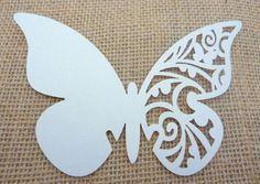 Laser Cut Butterfly Glass Place Cards White Pearlescent Card Wedding Table Party:
