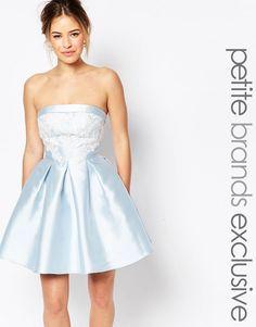 Image 1 ofChi-Chi London Petite Bandeau Mini Prom Dress With Lace Applique Bust Detail