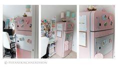 Tiffany Kirshner Dixon's pink refrigerator in her studio.  TOO CUTE!