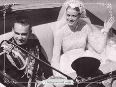 Princess Grace Kelly & Prince Rainier III Wed - Vintage eCard