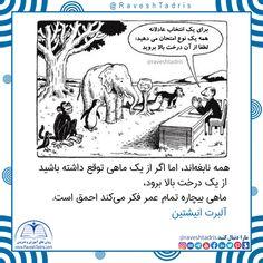 همه نابغهاند، اما اگر از یک ماهی توقع داشته باشید از یک درخت بالا برود، ماهی بیچاره تمام عمر فکر میکند احمق است. آلبرت انیشتین  @RaveshTadris #روش_تدریس #محمد_حافظی_نژاد Memes, Quotes, Quotations, Meme, Quote, Shut Up Quotes