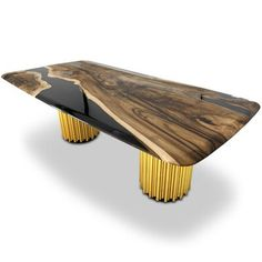 Curved Wood, Wood Slab, Wood And Metal, Wood Resin Table, Solid Wood Table, Wood Tables, Dining Furniture, Furniture Making, Tree Furniture