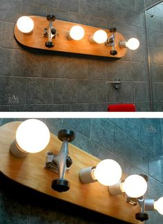 Recycled Skateboard Light Fixture. You can buy this, but it doesn't seem hard to re-create at home.