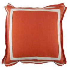 Spice Linen Natural Twill Border Throw Pillow