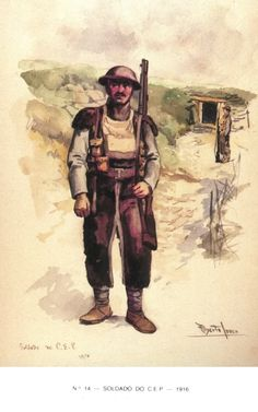 Infantryman with winter equipment  Expeditionary Portuguese Body - 1916-1918
