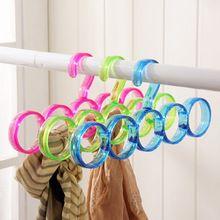5-Hole Ring Rope Slots Holder Hook Scarf Wraps Shawl Storage Hanger Ties Hanger/bBelt Rack/Scarves Organizer Practical Tools(China (Mainland))