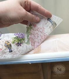 decoupaging drawers w napkins