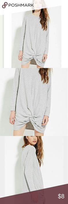 Forever 21 Contemporary Twisted Hem Dress Heather grey, gently worn. Super cute. XS Forever 21 Dresses