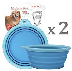 Prima Pet Expandable / Collapsible Silicone Food & Water Travel Bowl with Clip for Dog and Cat, Portable and Durable Pop-up Feeder for Convenient On-the-go Feeding - Size: LARGE (5 Cups) AQUA - 2 PACK Prima Pets http://www.amazon.com/dp/B00VTRRVHS/ref=cm_sw_r_pi_dp_3aLuwb04MQXM9