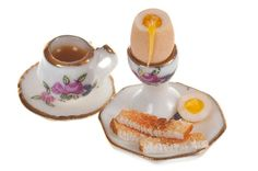 boiled egg breakfast with tea for one dollhouse miniature food