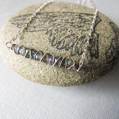New Labradorite and sterling silver bar necklace.