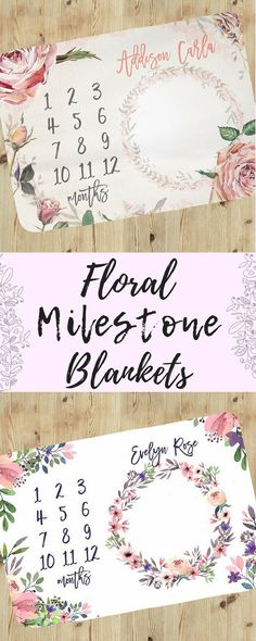 Milestone blanket for girl, custom baby blankets,personalized baby blanket, gift for baby girl, milestone blanket, baby shower gift idea, floral, afflink