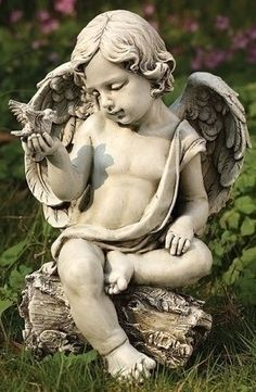"""12"""" Joseph's Studio Cherub Angel with Dove Outdoor Garden Figure by Roman. $44.99. From the Garden Statuary Collection by Joseph's Studio Item #60423Cherub angel is posed sitting on a log admiring a dove in his handMeticulously crafted by master artisansFor indoor/outdoor useDimensions: 12""""H x 8.25""""W x 7.25""""DMaterial(s): resin/stone mix. Save 18%!"""