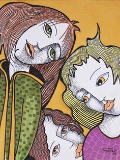 DIBUJO L-12 -  #Acuarela, #Amarillo, #Arte, #Dibujo, #Mujer, #Teresa_Cornejo, #Tinta