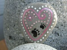 LOVE PETS PAW Prints hand painted rock. by DottyRoxAndMore on Etsy