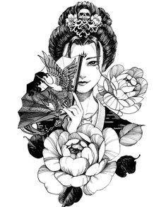 Tattoo by griffin on tattoo tattoos tattooideas tattooartist tattooarmenia tattooyerevan japanese japanesetattoo girl sword katana katanasword i simply fancy the color styles lines and depth this is a wonderful concept if you want a japanesetattoo Japanese Tattoo Art, Japanese Tattoo Designs, Japanese Sleeve Tattoos, Geisha Kunst, Geisha Art, Geisha Drawing, Samurai Drawing, Tattoo Girls, Girl Tattoos