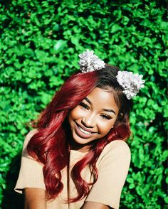 black girl with red hair, colorful hair inspiration, colored hair Weave Hairstyles, Cute Hairstyles, Bride Hairstyles, Hairstyle Ideas, Hair Inspo, Hair Inspiration, Girls With Red Hair, Hair Laid, Black Girls Hairstyles