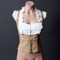 Casual Beige White Underbust Corset Style Ruffle Suspender Top Blouse