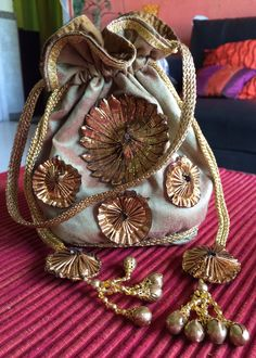 Copper Gold Silk Potli Bag Wedding Clutch, Bridal Clutch, Embroidery Bags, Hand Embroidery Designs, Ethnic Bag, Potli Bags, Beaded Bags, Fabric Bags, Vintage Purses
