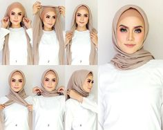How can I put on a Modern Hijab scarf easily? - How can I put on a Modern Hijab scarf easily? - Hijab Fashion and Chic Style Tutorial Hijab Pashmina, Square Hijab Tutorial, Hijab Style Tutorial, Simple Hijab Tutorial, Scarf Tutorial, Hijab Casual, Hijab Chic, Casual Outfits, Casual Dresses