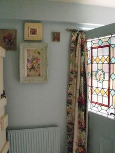 Love the wall color & curtain over the door. Vintage Home Maggie Neale