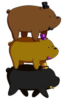 """We Bare Bears/Five Night's At Freddy's - Grizzly """"Grizz"""", Panda, Ice Bear"""