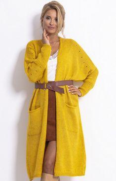 Fobya Długi kardigan z kieszeniami musztardowy F775 Casual Looks, Plus Size, Elegant, Outfits, Clothes, Dresses, Style, Fashion, Tricot