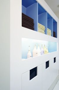 Shelving idea. I like the white woth color inside. Hair Salon Backwash