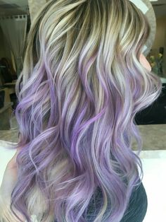 From brown and blonde tips to purple lavender lilac ends hair color ombré for #longhair