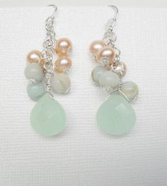 Beach inspired Earrings Pearl, Drop, Peach, and Seafoam Green Cluster,Sterling Silver,  Bridal Party accesories,. $27.00, via Etsy.